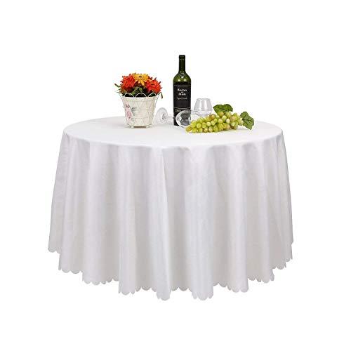 FEMOR Lot de 5 Nappe Blanche en tissu, Nappe de Table, Nappe Ronde, idéal pour Maison, Restaurant, Mariage Cérémonie (228cm)
