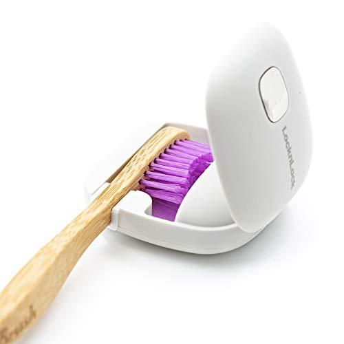 LOCK & LOCK Zahnbürsten Sterilisator - Tragbarer Behälter mit UV-LED-Technologie zur Sterilisation und Desinfektion von Zahnbürstenköpfen - fasst eine Bürste - Grau