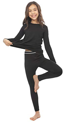 Bodtek Girls Thermal Long Underwear Set – Fleece-Lined Long Johns for Pajamas or Cold Weather Base Layer with Elastic Waistband – Breathable, Soft, Moisture-Wicking Leggings & Shirt (Black, X-Small)