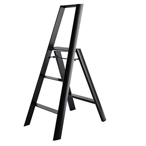 AISHANG Leitern, rutschfeste Leiter, Metall-Handlaufleiter, zusammenklappbar, Wohnzimmer, multifunktional, vierstufig, Arbeitssparend, Schwarz, 529 x 738 x 1223 mm