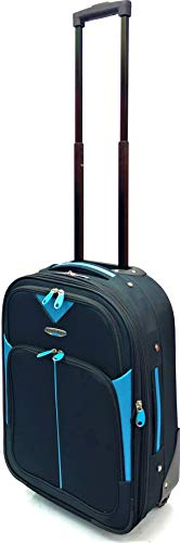 "Ryanair, EasyJet, BA, TUI, Jet2, Wizzair, Cabin Approved Super Lightweight Expandable Carry-ons Hand Luggage Trolley 2 Wheeled Luggage suitcases (18"" Ryanair, Black/Blue 219)"