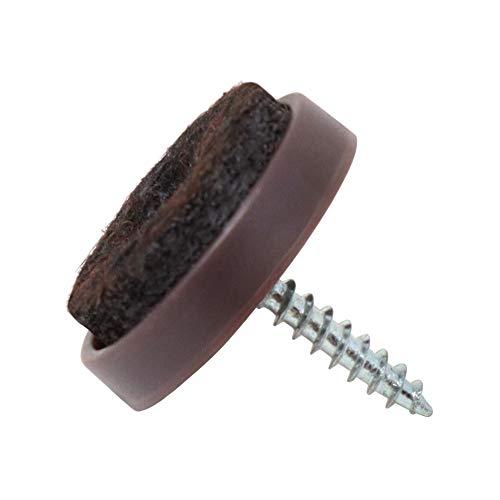 Adsamm 32 x Filzgleiter mit Schraube   Ø 24 mm   Braun   rund   Möbelgleiter zum Schrauben in Premium-Qualität