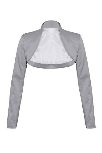 Elegante bolero a maniche lunghe in raso argento XXXL
