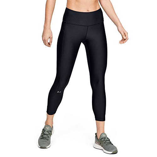 Under Armour Women's HeatGear Armour High Waisted Ankle Crop Leggings , Black (001)/Metallic Silver , Medium