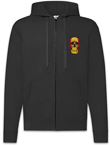 Urban Backwoods Classic Spain Skull Flag Sudadera con Capucha Y Cremallera para Hombre Zipper Hoodie Negro Talla XL