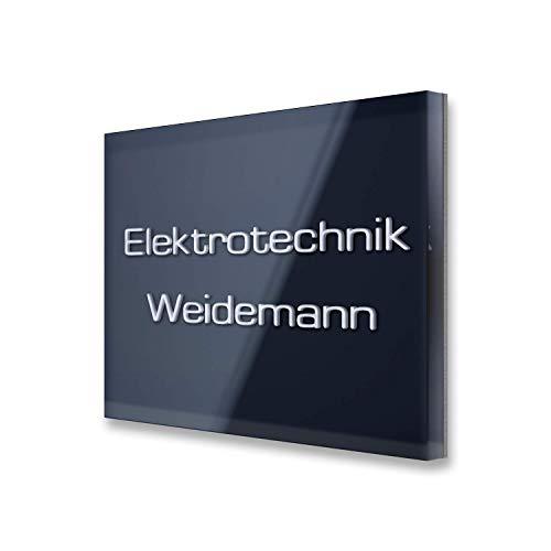 Naamplaatje - deurbordje - van roestvrij staal en acrylglas - incl. opschrift in 3D-dieptegravure - als bedrijfsplaatje of voor dokterspraktijk en bedrijf van Metzler-Trade® 100 x 40 mm Antraciet (Ral7016).