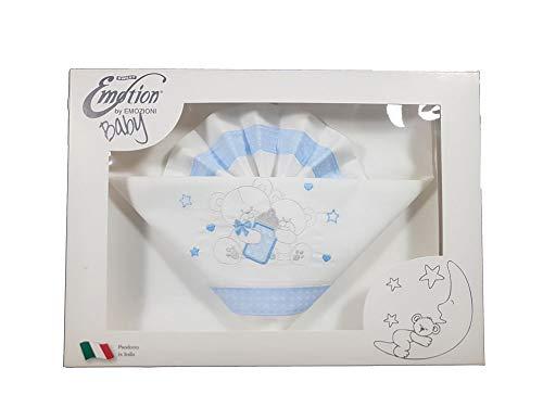 Emozioni - Paire de draps pour lit bébé 100 % coton anallergique Motif oursons ligne Baby bleu ciel