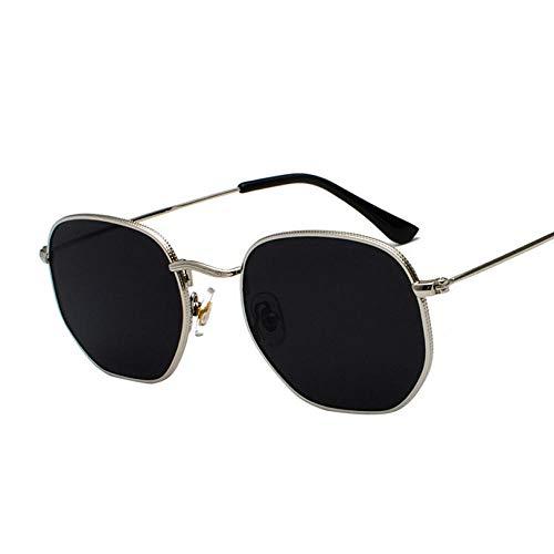 DLSM Gafas de Sol de Moda Hombres Cuadrado Marco de Metal Gafas de Sol Espejo Clásico Retro Gafas de Sol Mujeres Verano Gafas de Verano-Negro Plata