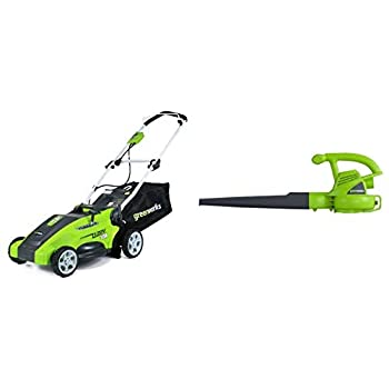 Greenworks 16-Inch 10 Amp Corded Electric Lawn Mower 25142 & 24012 7 Amp 160 MPH Single Speed Electric Blower Black and Green