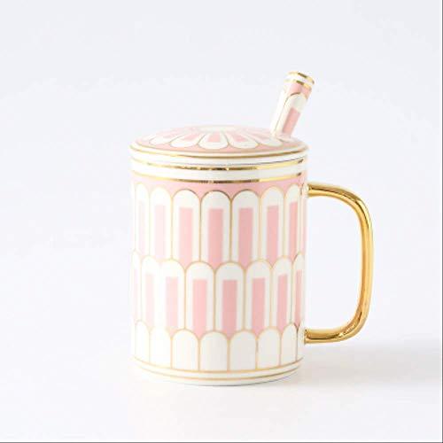 Europäische Kreative Becher Tasse Nachmittag Tee Tasse Nordic Wind Paar Kaffeetasse Keramik Becher Mit Deckel Löffel Geschenk-box 300ml 12