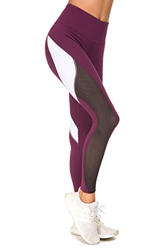 QUEENIEKE Women Yoga Pants Color Blocking Mesh Workout Running Leggings Tights Size L Color Dark Rose Red