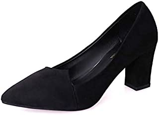 LQHYA New Women Pumps Black High Heels Lady Thick Pointed Single Shoes Female Sandals Bride Casual