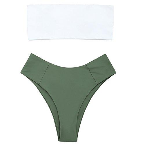 ZAFUL Women's Two Tone Bathing Suit High Cut Bandeau Two Piece Bikini Set Army Green