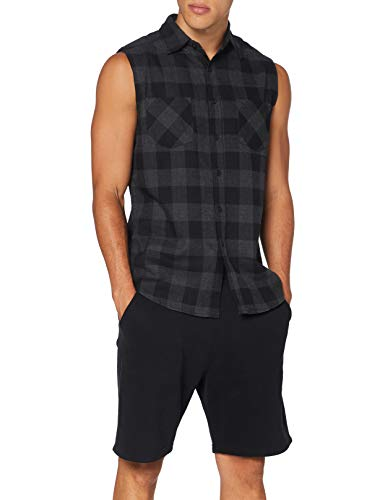 Urban Classics Herren Sleeveless Checked Flanell T-Shirt, Black-Charcoal, S