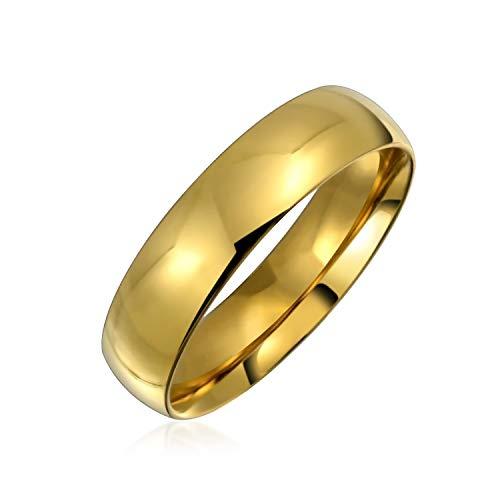 Bling Jewelry Cúpula Confort Ajuste Alianza Anillo de la Banda de Boda para Parejas para Hombres para Las Mujeres 14K Chapado en Oro Acero Inoxidable 5MM