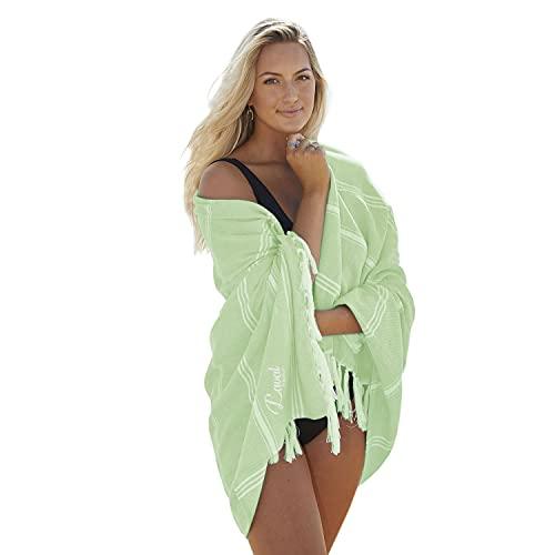 Laval Premium Toalla de playa (94 x 180 cm), prelavada, 100 % algodón orgánico, de secado rápido, suave, grande, ligera, toalla de playa turca (verde pistaquio)