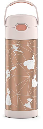 THERMOS FUNTAINER 16 Ounce Stainless Steel Vacuum Insulated Bottle with Wide Spout Lid,Princess