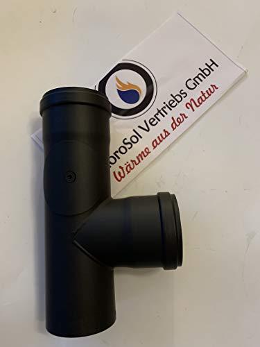 AdoroSol Vertriebs GmbH T-stuk met reinigingsopening rookpijp Pellet in zwart, Ø 80 mm kachelpijp voor pelletkachels