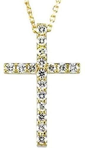 LKLFC Collar Colgante Collar de Cadena Mujer Hombre Collar Collar de Oro Amarillo de 14k con pequeña Cruz de Diamantes para Mujer 18 Regalo