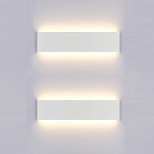 Yafido 2er Wandleuchte Innen LED 30CM Wandlampe Up Down Wandbeleuchtung 12W Warmweiß 3000K Wandlicht für Schlafzimmer Wohnzimmer Flur Treppen
