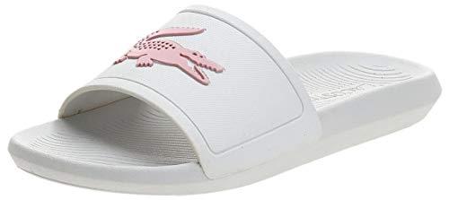 Lacoste Women's Croco Slide 119 3 CFA Open Toe Sandals, White/Light Pink, 7...
