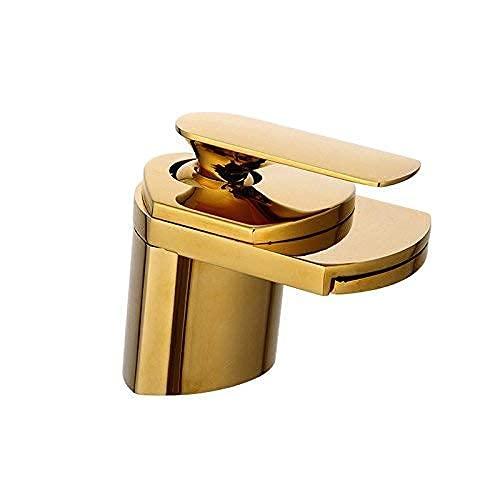 Grifo Antiguo de Cobre Puro Caliente y frío Grifo de Lavabo de la Vendimia Grifo de Cascada Grifo de Agua Dorado Grifo de Lavabo Antiguo Cepillado Negro Antiguo(Color:Gold)