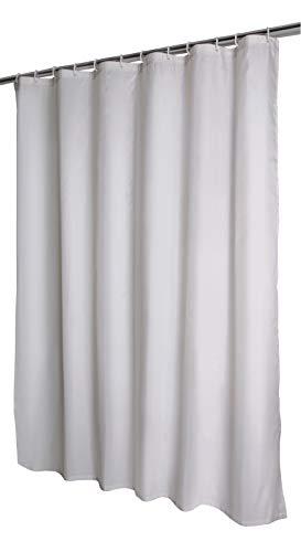 'aquaSu® Duschvorhang Embosa Hellgrau, Antibakteriell, Anti-Schimmel, Mit Beschwerungsband, 180 x 200 mm