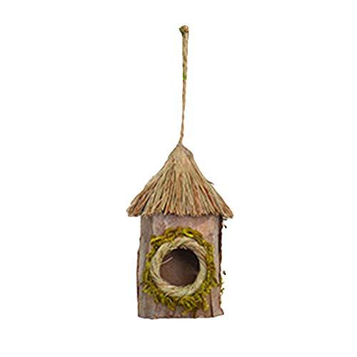 Eleusine Dekoratives Vogelhaus aus ländlichem Garten aus Holz, hängendes Vogelnest-Kolibri-Haus im Freien (Stil 1)