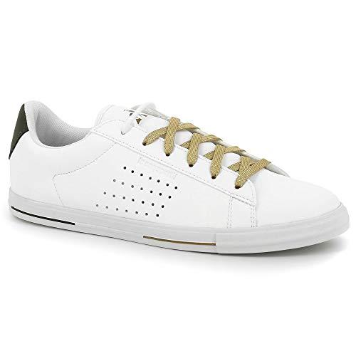 Le Coq Sportif Damen Agate Boutique Premium oli Sneaker, Weiß (Optical White/Olive Night Optical White/Olive Night), 40 EU