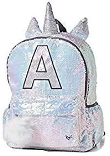 Justice Girls White Silver Sequin Unicorn Horn Initial Full Size School Backpack (Letter L)
