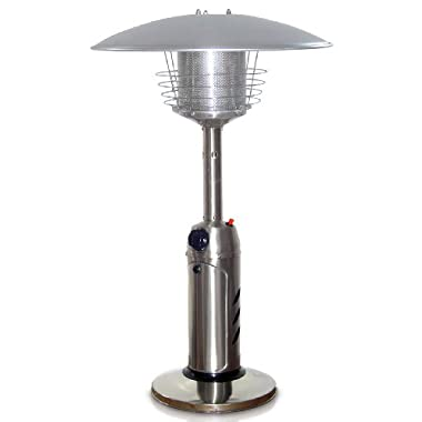 Garden Sun GS3000SS Table Top 11,000 BTU Propane Powered Patio Heater With Push Button Ignition, Stainless Steel