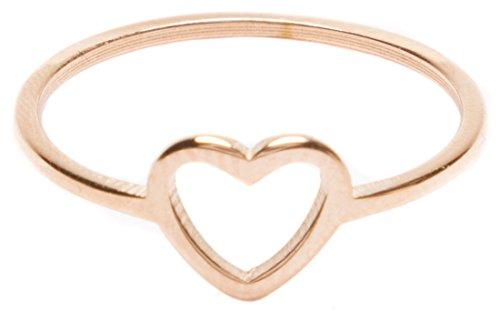Happiness Boutique Damen Herz Ring Minimalist | Zarter Damenring mit Rosegold Überzogen