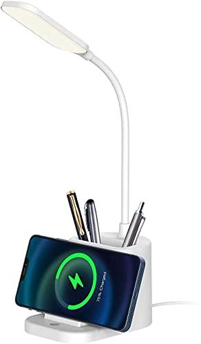 Lampada da tavolo, lampada da scrivania con caricabatterie wireless, 3 modalità di illuminazione per la protezione degli occhi, tubo regolabile a 360 gradi, con portapenne e porta cellulare, bianco