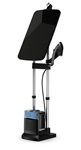 Rowenta QR2021 IXEO Power - Plancha con caldera de alta presión y eje integrado de 3 posiciones, higieniza y apaga baterías, potente y versátil, 5,8 bar, 2170 W, 1,1 litros, negro/azul