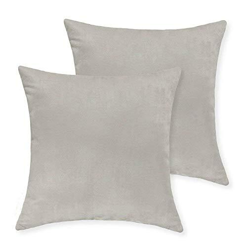 Juego de 2 funda de cojín de piel sintética ultra suave (45 x 45 cm), crudo, 18x18 inch(45x45cm)-2pcs
