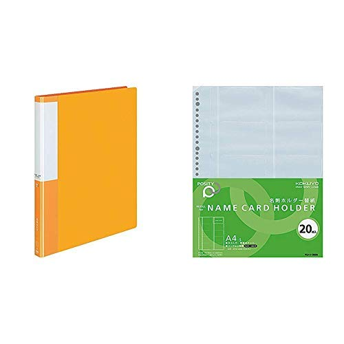 Kokuyo business card holder Positivity replacement type A4 vertical orange 300 people 4 books Japan