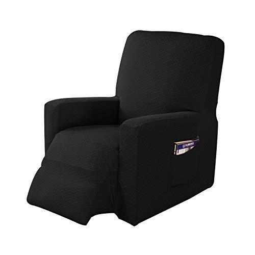 1-Piece Stretch Recliner Chair Slipcover Spandex Jacquard Fabric Recliner Sofa Cover Furniture Protector with Elastic Bottom Side Pocket Fit for Living Room(Black)