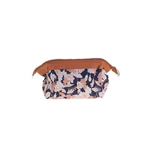Trousse de maquillage floral Vintage pochette zippée sac de rangement portable cosmétique trousse de toilette pour femmes (fleur de café)