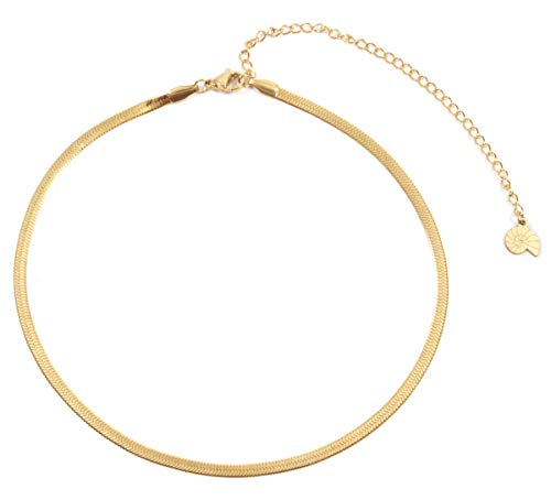 Happiness Boutique Damas Collar Choker de Espiga en Color Oro | Collar Delicado de Acero Inoxidable