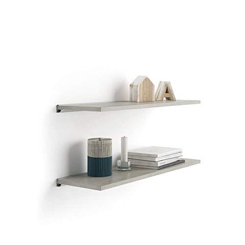 Mobili Fiver, Par de estantes 60x25 cm Color Cemento, con Soporte de Aluminio Gris, Aglomerado y Melamina/Aluminio, Made in Italy