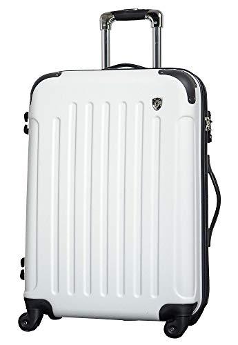 LM ホワイト / newFK10371 スーツケース キャリーバッグ 軽量 TSAロック 大 (5~10日用) マット加工 ファスナー開閉タイプ