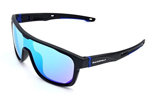 Gamswild Sonnenbrille WS1426 Sportbrille Skibrille Fahrradbrille Unisex Herren Damen | blau | rot | türkis, Farbe: Blau