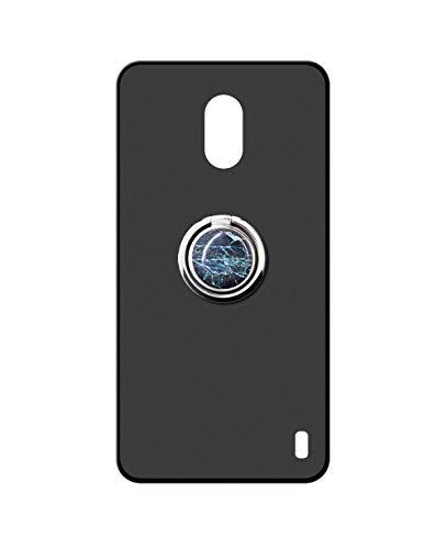 Sunrive Kompatibel mit Huawei Y625 Hülle Silikon, 360°drehbarer Ständer Ring Fingerhalter Fingerhalterung Handyhülle matt Schutzhülle Etui Hülle (Blauer Marmor) MEHRWEG