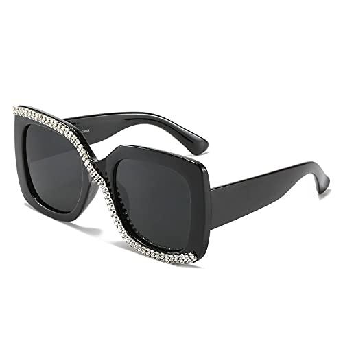 Hanpiyignstyj Gafas De Sol, Retro Colorido Gafas de Sol Damas Cristal Cuadrado Cuadrado Gafas de Sol Rhinestone Sexy (Lenses Color : Black)
