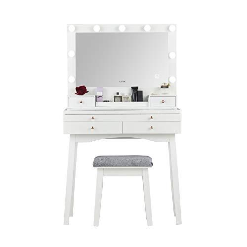 Hollywood - Tavolino da toeletta con grande sensore touch a specchio, in vetro, con cassettiera, colore: Bianco