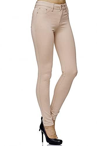 Elara Damen Stretch Hose Skinny Fit Jegging Chunkyrayan H15 Beige 42 (XL)