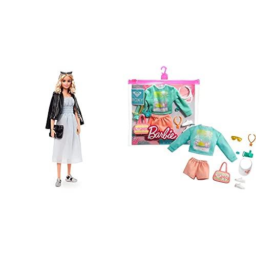 Barbie Style Serie Moda Muñeca Modelo 1 para Niñas Y Niños + 3 Años (Mattel Gtj82) + Cdu Pack De Moda Licencia Roxy: Jersey Y Shorts, Ropa De Muñeca (Mattel Grd59)