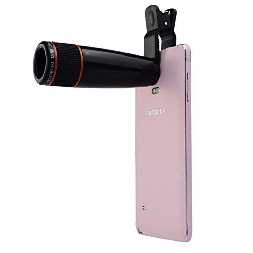 Rewy Universal 12X Zoom Mobile Phone Telescope Lens with Adjustable Clip Holder- Assorted Color