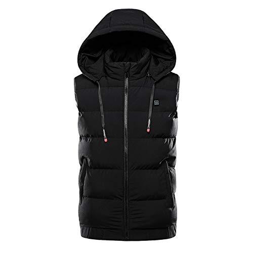 ZLJIA Chaleco eléctrico con calefacción, chaqueta de calentamiento para hombre, carga USB, chaleco cálido, temperatura para calentar el cuerpo, en invierno, camping, al aire libre, color negro