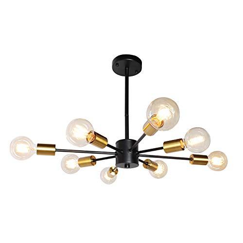 JHLBYL Sputnik Kronleuchter Moderne 8-Flammig Vintage Schwarz Gold Metall Pendelleuchte für Schlafzimmer Wohnzimmer Esszimmer Küche